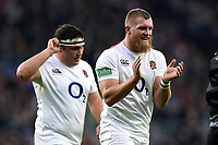Brad Shields celebrates England being awarded a penalty. Quilter International match between England and Australia on November 24, 2018 at Twickenham Stadium in London, England. Photo by: Patrick Khachfe / Onside Images