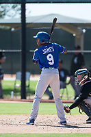 Kansas City Royals second baseman Tyler James (9) at bat in front of catcher Evan Skoug (27) during an Instructional League game against the Chicago White Sox at Camelback Ranch on September 25, 2018 in Glendale, Arizona. (Zachary Lucy/Four Seam Images)