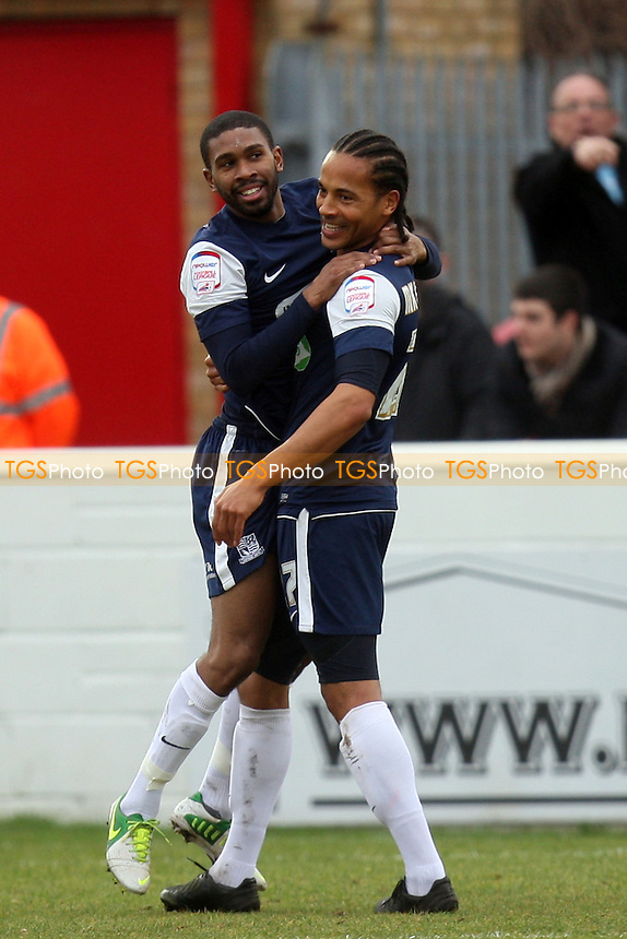 second goalscorer Gavin Tomlin of Southend United is congratulated by Tamika Mkandawire - Dagenham and Redbridge vs Southend United at the London Borough of Barking and Dagenham Stadium  - 26/12/12 - MANDATORY CREDIT: Dave Simpson/TGSPHOTO - Self billing applies where appropriate - 0845 094 6026 - contact@tgsphoto.co.uk - NO UNPAID USE.