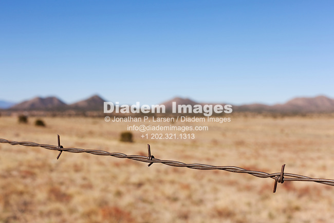 Barbed wire in rural New Mexico.