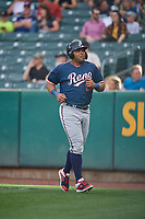 Yasmany Tomas (23) of the Reno Aces during the game against the Salt Lake Bees at Smith's Ballpark on June 27, 2019 in Salt Lake City, Utah. The Aces defeated the Bees 10-6. (Stephen Smith/Four Seam Images)