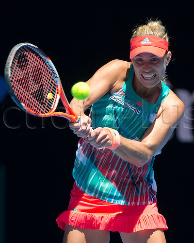 25.01.2016. Melbourne Park, Melbourne, Australia. Australian Open Tennis Championships. Angelique Kerber in action at the start of the second week.