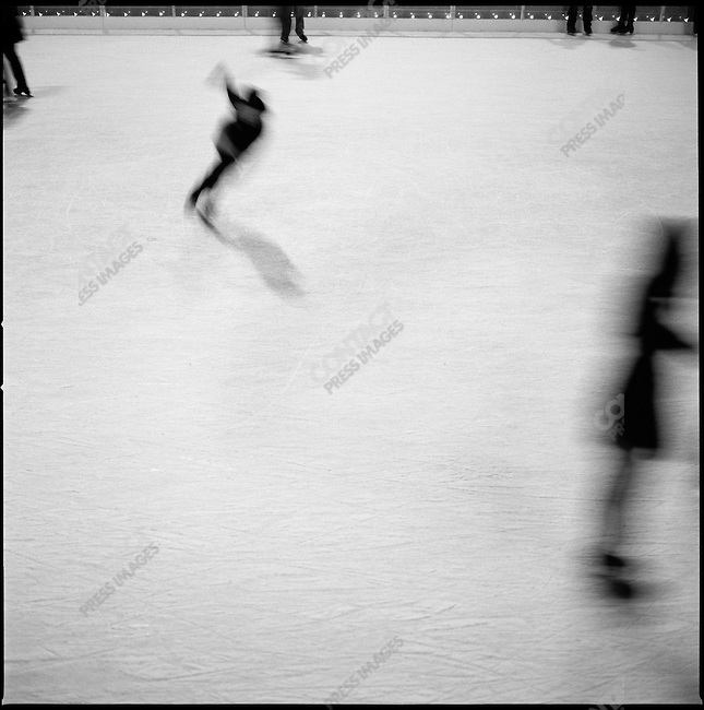 People skated on the ice-rink at the Rockefeller Plaza. New York City, New York, November 11, 2008