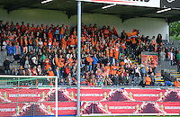 20140507 - LEUVEN , BELGIUM : Dutch Fans pictured during the female soccer match between Belgium and The Netherlands, on the eighth matchday in group 5 of the UEFA qualifying round to the FIFA Women World Cup in Canada 2015 at Stadion Den Dreef , Leuven . Wednesday 7th May 2014 .  PHOTO DAVID CATRY