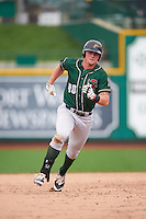 Great Lakes Loons first baseman Matt Jones (40) during the second game of a doubleheader against the Fort Wayne TinCaps on May 11, 2016 at Parkview Field in Fort Wayne, Indiana.  Great Lakes defeated Fort Wayne 5-0.  (Mike Janes/Four Seam Images)
