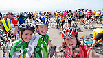 Laura Kerrisk, Firies, Kieran O'Rourke, Killorglin and Claire O'Dwyer, Killorglin at the top of Coomakista at the Ring of Kerry cycle on Saturday.