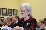 March 6, 2012  (Washington, DC)  Health and Human Services Secretary Kathleen Sebelius testifies on the President's FY13 budget request before the House Subcommittee on Labor, HHS & Education.  (Photo by Don Baxter/Media Images International)