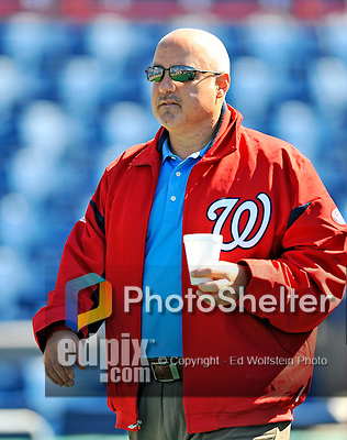 12 March 2011: Washington Nationals' General Manager Mike Rizzo watches batting practice prior to a Spring Training game against the New York Yankees at Space Coast Stadium in Viera, Florida. The Nationals edged out the Yankees 6-5 in Grapefruit League action. Mandatory Credit: Ed Wolfstein Photo
