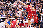 07 MAY: Branden Sander (15) of Brigham Young University goes for a kill against Ohio State University during the Division I Men's Volleyball Championship held at Rec Hall on the Penn State University campus in University Park, PA. Ohio State defeated BYU 3-1 for the national title. Ben Solomon/NCAA Photos