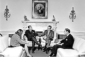 Washington, D.C. - October 21, 1970 -- United States President Richard M. Nixon meets His Excellency Souvanna Phouma, Prime Minister of Laos in the Oval Office in the White House in Washington, D.C. on October 21, 1970.  Pictured from left to right: unidentified; Souvanna Phouma; President Nixon; Alexander M. Haig, Jr..Credit: White House via CNP
