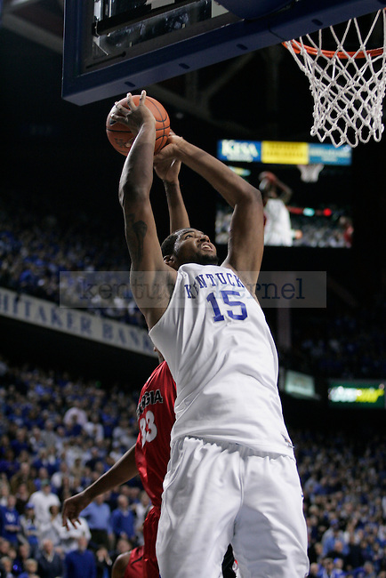 Freshman forward DeMarcus Cousins makes a dunk during the second half of the UK men's basketball game against Georgia at Rupp Arena on Saturday, Jan. 9, 2010. The Cats beat the Bulldogs 76-68. Photo by Adam Wolffbrandt | Staff