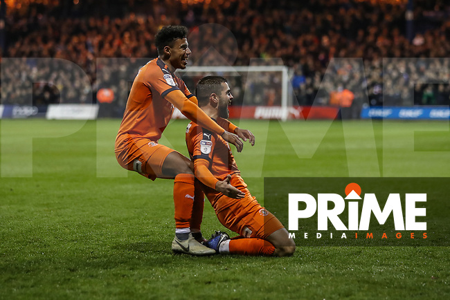 GOAL - Elliot Lee of Luton Town (right) celebrates with James Justin of Luton Town after he scores his team's second goal during the Sky Bet League 1 match between Luton Town and Bradford City at Kenilworth Road, Luton, England on 27 November 2018. Photo by David Horn.