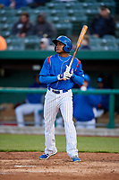 South Bend Cubs center fielder Luis Ayala (30) at bat during a game against the Clinton LumberKings on May 5, 2017 at Four Winds Field in South Bend, Indiana.  South Bend defeated Clinton 7-6 in nineteen innings.  (Mike Janes/Four Seam Images)