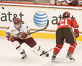 Emily Field (BC - 15), Bailey Habscheid (SLU - 21) - The Boston College Eagles defeated the visiting St. Lawrence University Saints 6-3 (EN) in their NCAA Quarterfinal match on Saturday, March 10, 2012, at Kelley Rink in Conte Forum in Chestnut Hill, Massachusetts.