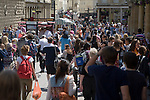 Streets crowded with shoppers in the city centre of Bath, Somerset, England