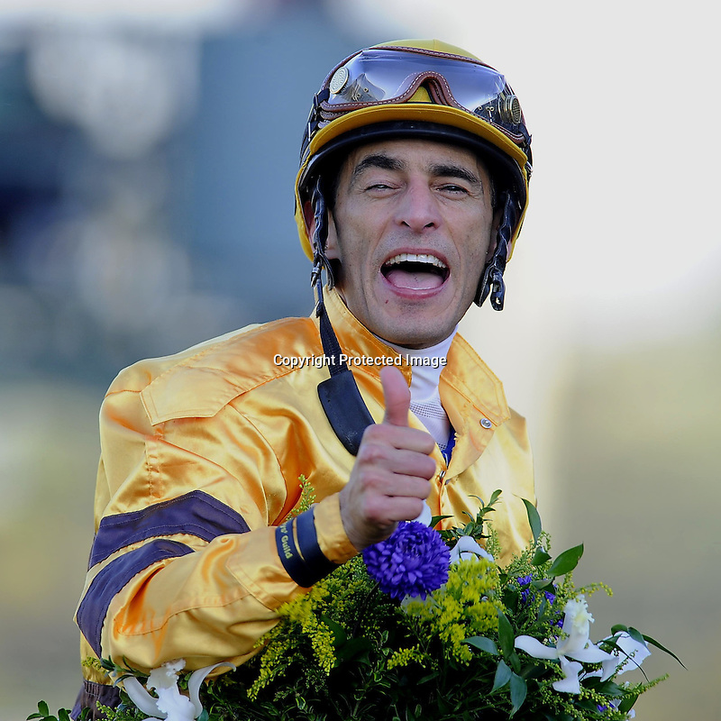 Nov. 03, 2012 - Arcadia, California, U.S - John Velazquez celebrates after riding Wise Dan to win the Breeders' Cup Mile at Santa Anita Park in Arcadia, CA. (Credit Image: © Jimmy Jones/Eclipse/ZUMAPRESS.com)