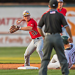 4 September 2016: Lowell Spinners infielder Andy Perez turns a double-play to end the 6th inning against the Vermont Lake Monsters at Centennial Field in Burlington, Vermont. The Spinners defeated the Lake Monsters 8-3 in NY Penn League action. Mandatory Credit: Ed Wolfstein Photo *** RAW (NEF) Image File Available ***