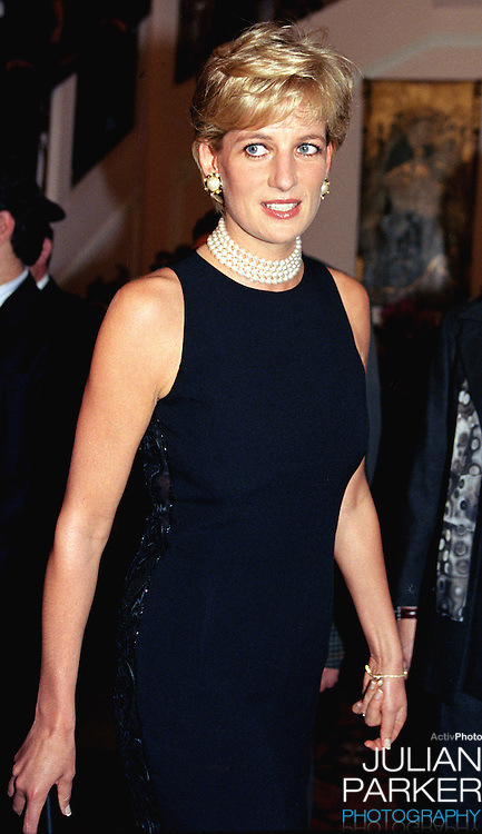 Diana, The Princess of Wales, attends a buffet dinner at The Grand Hotel, in Rimini, Italy..The Princess was in Rimini to receive a Humanitarian award for her charity work