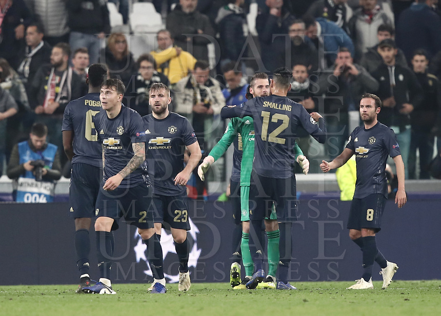 Football Soccer: UEFA Champions League -Group Stage-  Group H - Juventus vs Manchester United, Allianz Stadium. Turin, Italy, November 07, 2018.<br /> Manchester United's players celebrate after winning 2-1 the Uefa Champions League football soccer match between Juventus and Manchester United at Allianz Stadium in Turin, November 07, 2018.<br /> UPDATE IMAGES PRESS