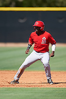 Los Angeles Angels of Anaheim Johan Sala (95) during an Instructional League game against the Colorado Rockies on October 6, 2016 at the Tempe Diablo Stadium Complex in Tempe, Arizona.  (Mike Janes/Four Seam Images)