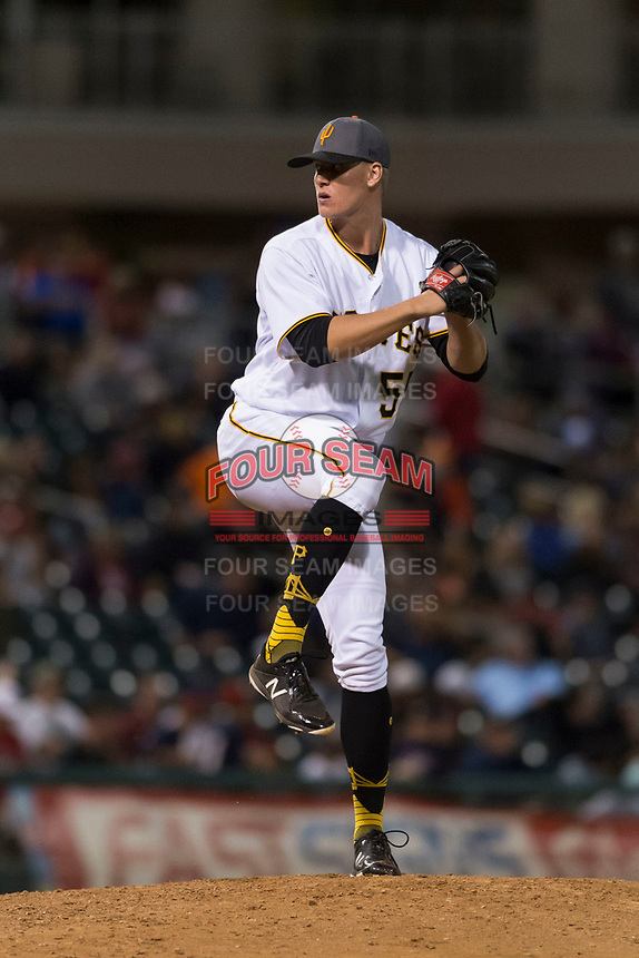 AFL West shortstop relief pitcher Blake Weiman (55), of the Surprise Saguaros and Pittsburgh Pirates organization, delivers a pitch during the Arizona Fall League Fall Stars game at Surprise Stadium on November 3, 2018 in Surprise, Arizona. The AFL West defeated the AFL East 7-6 . (Zachary Lucy/Four Seam Images)