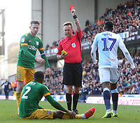 Preston North End's Darnell Fisher is shown a red card by Referee Oliver Langford<br /> <br /> Photographer Rich Linley/CameraSport<br /> <br /> The EFL Sky Bet Championship - Blackburn Rovers v Preston North End - Saturday 9th March 2019 - Ewood Park - Blackburn<br /> <br /> World Copyright © 2019 CameraSport. All rights reserved. 43 Linden Ave. Countesthorpe. Leicester. England. LE8 5PG - Tel: +44 (0) 116 277 4147 - admin@camerasport.com - www.camerasport.com