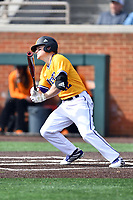 Western Illinois Luke Schwartz (12) swings at a pitch during a game against the University of Tennessee at Lindsey Nelson Stadium on February 15, 2020 in Knoxville, Tennessee. The Volunteers defeated Leathernecks 19-0. (Tony Farlow/Four Seam Images)