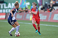 Portland, OR - Saturday July 22, 2017: Estelle Johnson, Meghan Klingenberg during a regular season National Women's Soccer League (NWSL) match between the Portland Thorns FC and the Washington Spirit at Providence Park.