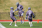 Tyler Cook (30) of the High Point Panthers reacts after scoring a goal against the UMBC Retrievers at Vert Track, Soccer & Lacrosse Stadium on March 15, 2014 in High Point, North Carolina.  The Panthers defeated the Retrievers 17-15.   (Brian Westerholt/Sports On Film)
