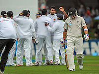 Brendon McCullum walks off after being dismissed for a duck during day one of the 2nd cricket test match between the New Zealand Black Caps and Sri Lanka at the Hawkins Basin Reserve, Wellington, New Zealand on Saturday, 3 February 2015. Photo: Dave Lintott / lintottphoto.co.nz