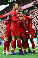 Liverpool's Sadio Mane celebrates scoring his side's first goal with his team-mates<br /> <br /> Photographer Richard Martin-Roberts/CameraSport<br /> <br /> The Premier League - Liverpool v Chelsea - Sunday 14th April 2019 - Anfield - Liverpool<br /> <br /> World Copyright © 2019 CameraSport. All rights reserved. 43 Linden Ave. Countesthorpe. Leicester. England. LE8 5PG - Tel: +44 (0) 116 277 4147 - admin@camerasport.com - www.camerasport.com