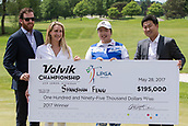 28th May 2017, Ann Arbor, MI, USA;  Shanshan Feng, of China, (center) receives the winner's check from K.C. Crain, Jr.,  Executive Vice President and Director of Corporate Operations for Crain Communications Inc., (far left) and his wife Ashley Crain (left) and Don Shin, President of Volvik USA, (right) during the awards ceremony at the conclusion of the final round of the LPGA Volvik Championship on May 28, 2017 at Travis Pointe Country Club in Ann Arbor, Michigan.