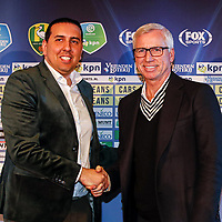 2nd January 2020, The Hague, Holland; ADO Den Haag Managing Director Mohammed Hamdi and ADO Den Haag new coach Alan Pardew shaking hands during the presentation of Alan Pardew as the new ADO head coach.