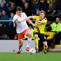 Blackpool's Matty Virtue vies for possession with Burton Albion's Jamie Allen<br /> <br /> Photographer Chris Vaughan/CameraSport<br /> <br /> The EFL Sky Bet League One - Burton Albion v Blackpool - Saturday 16th March 2019 - Pirelli Stadium - Burton upon Trent<br /> <br /> World Copyright &copy; 2019 CameraSport. All rights reserved. 43 Linden Ave. Countesthorpe. Leicester. England. LE8 5PG - Tel: +44 (0) 116 277 4147 - admin@camerasport.com - www.camerasport.com