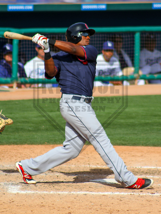 GLENDALE - March 2015: Carlos Moncrief (75) of the Cleveland Indians during a spring training game against the Los Angeles Dodgers on March 17th, 2015 at Camelback Ranch in Glendale, Arizona. (Photo Credit: Brad Krause)