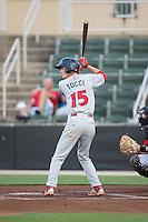 Carlos Tocci (15) of the Lakewood BlueClaws at bat against the Kannapolis Intimidators at CMC-Northeast Stadium on May 16, 2015 in Kannapolis, North Carolina.  The BlueClaws defeated the Intimidators 9-7.  (Brian Westerholt/Four Seam Images)