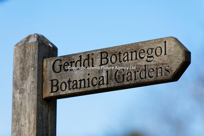 A bilingual Botanical Gardens / Gerddi Botanegol sign in English and Welsh in Singleton Park, Swansea, Wales, UK. Friday 27 March 2020