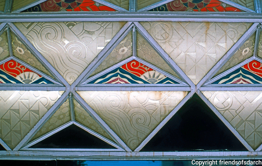 Los Angeles: Oviatt Building 1927-28. Underside of marquee--Lalique glass, designed and produced in France. Photo '89.