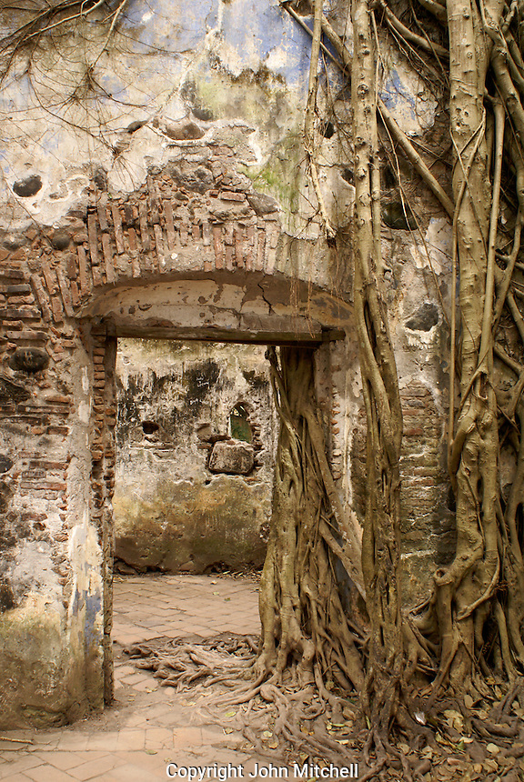 Doorway in the ruined custom house or Casa de Cortes in La Antigua, Veracruz, Mexico. The village of La Antigua dates back to 1523. Hernan Cortes reportedly scuttled his ships here before marching inland to conquer the Aztecs.