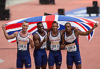 The Men's GBR Team after winning the 4x100m Relay (l-r) Richard Kilty, Harry Aikines-Aryeetey, James Ellington and Chijindu Ujah during the Sainsbury's Anniversary Games, Athletics event at the Olympic Park, London, England on 25 July 2015. Photo by Andy Rowland.