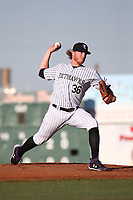 Jon Gray (36) of the Colorado Rockies pitches for the Lancaster JetHawks during a rehab game against the Lake Elsinore Storm at The Hanger on June 14, 2017 in Lancaster, California. Lancaster defeated Lake Elsinore, 4-0. (Larry Goren/Four Seam Images)