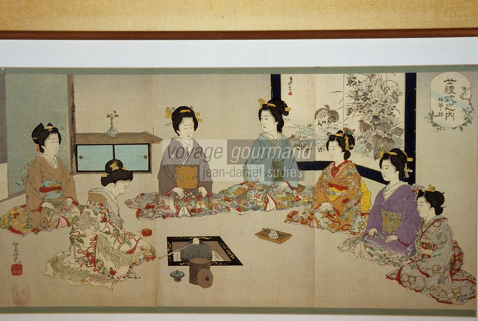 Asie/Japon/Nara: Détail d'estampes japonaises sur la cérémonie du thé