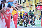 Green Jersey Peter Sagan (SVK) Bora-Hansgrohe outsprints Sonny Colbrelli (ITA) Bahrain-Merida to win Stage 5 of the 2018 Tour de France running 204.5km from Lorient to Quimper, France. 11th July 2018. <br /> Picture: ASO/Pauline Ballet | Cyclefile<br /> All photos usage must carry mandatory copyright credit (&copy; Cyclefile | ASO/Pauline Ballet)