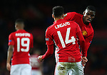 Jesse Lingard of Manchester United dances with Paul Pogba in celebration after scoring his sides fourth goal during the UEFA Europa League match at Old Trafford, Manchester. Picture date: November 24th 2016. Pic Matt McNulty/Sportimage