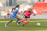 Bridgeview, IL, USA - Sunday, May 29, 2016: Chicago Red Stars forward Sofia Huerta (11) beats Sky Blue FC goalkeeper Caroline Stanley (18) just before scoring during a regular season National Women's Soccer League match between the Chicago Red Stars and Sky Blue FC at Toyota Park. The game ended in a 1-1 tie.