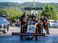 Jun 15, 2018; Bristol, TN, USA; Crew members for NHRA top fuel driver Richie Crampton during qualifying for the Thunder Valley Nationals at Bristol Dragway. Mandatory Credit: Mark J. Rebilas-USA TODAY Sports