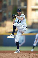 Gwinnett Stripers starting pitcher Ian Anderson (51) in action against the Scranton/Wilkes-Barre RailRiders at Coolray Field on August 18, 2019 in Lawrenceville, Georgia. The RailRiders defeated the Stripers 9-3. (Brian Westerholt/Four Seam Images)