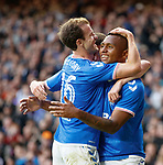 18.07.2019: Rangers v St Joseph's: Alfredo Morelos celebrates with Andy Halliday