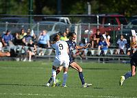 Kansas City, MO - Sunday September 04, 2016: Heather O'Reilly, Sarah Killion during a regular season National Women's Soccer League (NWSL) match between FC Kansas City and the Sky Blue FC at Swope Soccer Village.