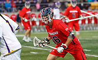 Tate Gallagher (#16) defends an Albany attacker as UAlbany Men's Lacrosse defeats Richmond 18-9 on May 12 at Casey Stadium in the NCAA tournament first round.